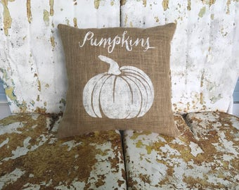 FALL PUMPKINS with Burlap Square Pillow Style Fall Thanksgiving Painted Burlap Throw Accent Pillow Home Decor