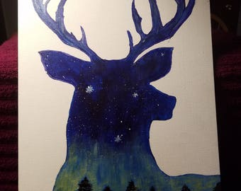 Buck head with a sunset illusion. Acrylic hand drawn and painted