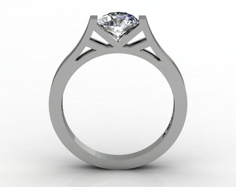 Modern 14K White Gold Elegant and Luxurious Engagement Ring or Wedding Ring with a White Sapphire Center Stone R667-14KWGWS