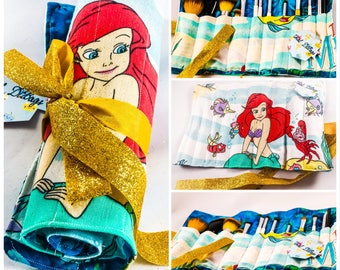Little Mermaid Makeup / Paint Brush Roll Made From Vintage Sheets