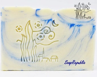 SoapRepublic 'Starry Night' 35x35mm Acrylic Soap Stamp / Cookie Stamp / Clay Stamp