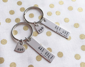 Her One, His Only, Custom Date and Initials, Keychains, Couples Set, Anniversary gift, Wedding Present, Military Couple, Christmas Gift