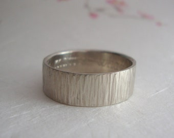 Gold Bamboo Wedding band- 10k white gold band ring with bamboo inspired texture