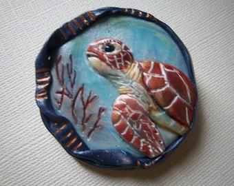 Sea Turtle Brooch,  Nautical Brooch, Polymer Clay, Sea Life, Wearable Art, Blue Brooch, One-of-a-Kind Brooch