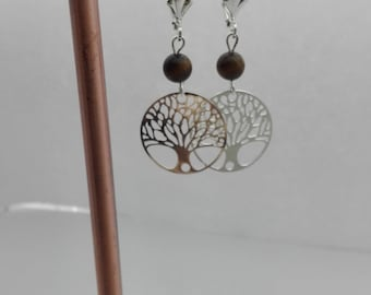 Earrings tree of life and gemstone semi precious Tiger eye jewelry protection, gift for her, Crystal healing