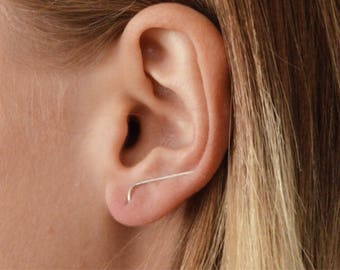 Clips - Linear Pierced Ear Climbers in Silver, Blackened Silver, Gold Filled, or Rose Gold Filled