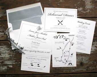 Traditional, Elegant Wedding Invitation (Emma Suite) - Deposit