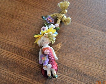 Charlotte Doll Ornament,Fairy kei,Angel Mixed Media Assemblage Sculpture,Hanging Decoration,Tiny Bisque Doll,Antique Blonde Frozen Doll