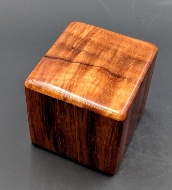 "Curly Hawaiian Koa  Pet or Infant Small Cremation Urn  4 3/4"" x 4 1/4"" x 4""  Custom Handmade Urns Ashes Memorial Keepsake Urn SK031218-B"