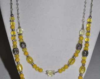 Silver Necklace Double Strand Yellow Glass #500 One Of A Kind