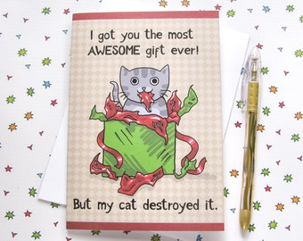 Cute Cat Christmas Card Birthday Card Cute Greeting Card Kitty Present Gift Funny Humor Holiday