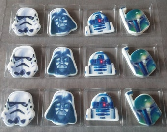 12 STAR WARS edible cupcake toppers pick birthday Storm Trooper Darth Vader R2D2 Boba Fett Lucas Films Disney The Force Awakens Sugarsoft