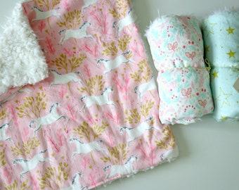 Dream Lovie, Pink Unicorns Minky with Ivory Faux Fur