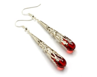 Victorian Steampunk Earrings RED Gothic Earrings Silver Dangle Earrings Victorian Romantic Steampunk Jewelry By Victorian Curiosities