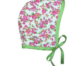 Baby Bonnet, Floral Bonnet, Newborn Bonnet, Baby Sun Hat, Sun Bonnet, Toddler Bonnet, Girls Bonnet, Summer Bonnet, Pink Baby Bonnet