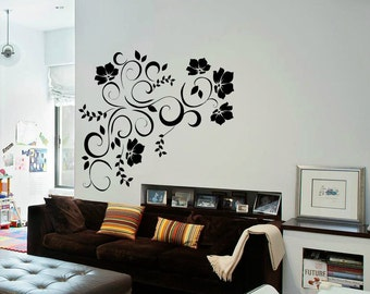 Floral Wall Decal Master Bedroom Decal Cute Flower Wall Decal WT005 : wall decals master bedroom - www.pureclipart.com