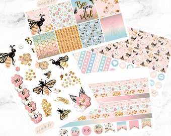 Erin Condren Horizontal Bee You Tiful Weekly Kit Planner Stickers