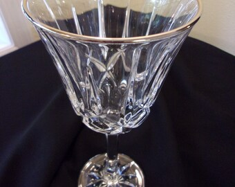 lead crystal wine glass,heavy lead crystal,silver rim,cut crystal wine glass,elegant,special occasion,dining & entertaining,bar ware