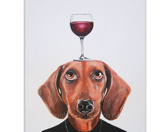Daschund Painting, Wine Art, Dog with wineglass by painter Coco de Paris