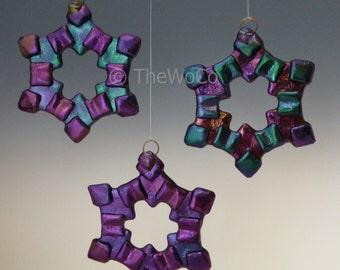 MERRY Cool Tones Black Iridized Snowflake, Fused Glass Ornament Suncatcher