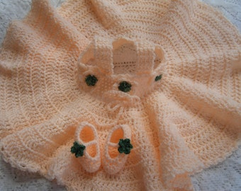 Peach Crocheted Baby Dress and Slippers Size 3-6 Months - HANDMADE BY ME