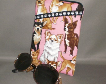 Chihuahua Eyeglass Sunglasses Case - Zipper Top - Cell Phone, Camera, iPod Bag - Padded Zipper Pouch