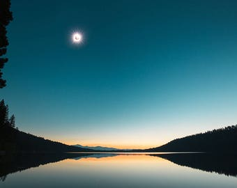 """Eclipse Photo Wall Art, 2017 Great American Solar Eclipse, Diamond Ring Effect, Fine Art Metal Print, Landscape, Museum Quality, """"Totality"""""""