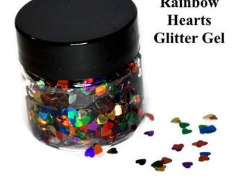RAINBOW HEARTS Glitter Gel for Face, Body, and Hair
