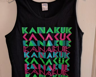 Dayglo 80s Style Black Tank Top Size M