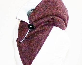 Warm hooded scarf - wool fabric with fleece