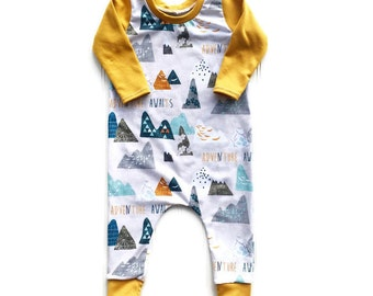 Newborn Romper - Adventure Awaits Baby Boy Romper - Baby Boy Clothes, Toddler Romper - Handmade - Baby Romper - Baby Shower Gift - Romper