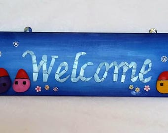 A welcome home sign, mosaic art, Wall art, Home gift. Home decor, Mixed media stained glass beads and  pebbles, original.