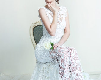 A-Line Wedding Dress With a Small Train. Guipure Lace Dress. Lace Wedding Dress. Wedding Long Fitted Dress. Free shipping