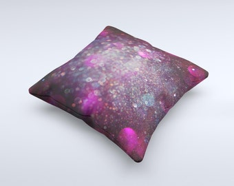 The Purple and Pink Unfocused Glowing Light Orbs ink-Fuzed Decorative Throw Pillow