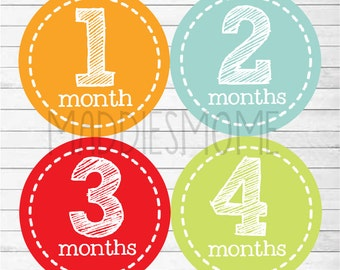 ON SALE Monthly Baby Stickers Baby Boy Month Stickers Milestone Stickers Monthly Photo Stickers Gender Neutral Red Blue (Bennet Neutral)