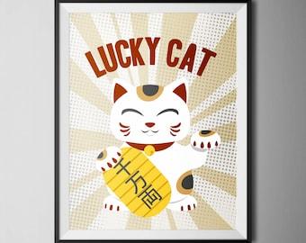"""Lucky Cat-Maneki Neko - 8,5"""" x 11"""" Digital Print Poster, Home Decor, Wall Art"""