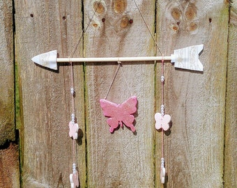 Boho Baby Girl Nursery Decor - Blush Pink & Gold Glitter Butterfly wood arrow| White lace and pearls wall art | Little Girls Room | Toddler