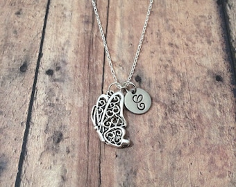 Butterfly initial necklace - butterfly jewelry, springtime necklace, silver butterfly pendant, garden jewelry, bug necklace, insect jewelry