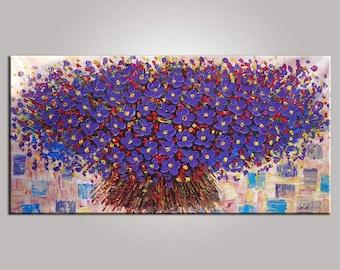 Flower Painting, Abstract Painting, LARGE Painting, Original Art, Wall Art, Canvas Art, Contemporary Artwork, Modern Art, Bedroom Wall Art