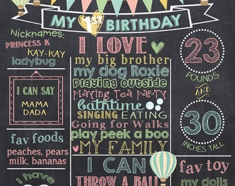 Hot Air Balloon First Birthday Chalkboard Poster - Balloon Birthday Chalk Board Sign - Printable Photo Prop