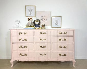 French Provincial Dresser for Nursery, bedroom, child, teen or adult. Blush Pink with original brassy gold hardware. Changing table Painted