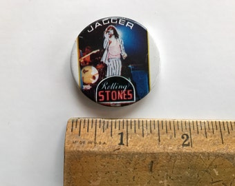 """MICK JAGGER Rolling Stones Original 1980'S Tour button  1 1/2"""""""" inches"""