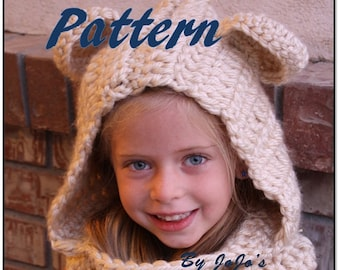 PDF Hooded Bear Cowl PATTERN - Bear Cowl Pattern - Teddy Bear Cowl - Children's Hooded Cowl Pattern - by JoJosBootique
