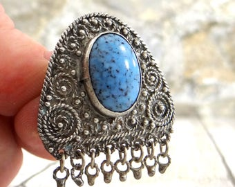 Sterling Silver Pendant from Israel, Brooch and Pendant, Blue Stone, Sterling 925