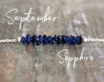 Raw Sapphire Necklace, Blue Sapphire Jewelry, Gemstone Choker, Wife Gift for Her, September Birthstone Necklace, Raw Stone Necklace, Dainty