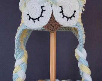 Baby Hat, Baby Boy Hat, Owl Hat, Baby Bonnet, Baby Gift, Baby Girl Hat, Handmade Baby Hat, Crocheted Baby Hat, Yellow / Green, Baby Gift