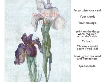 Iris Card, Floral Greeting Card,  Handmade Birthday  Card , personalised card, handmade anniversary card , Blank art  card , Irises