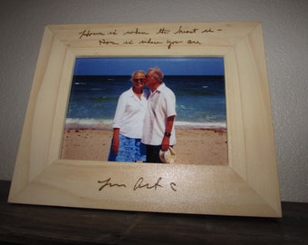 Custom Handwriting Frame, Your handwriting Laser engraved, Personalized 5x7, Memorial Gift, Anniversary Gift