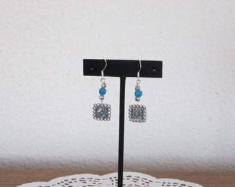 Square Metal Focal Piece with Turquoise Color Center