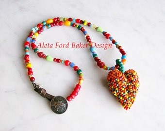 Colorful Rustic Beaded Heart Pendant Necklace Tribal Jewelry Leather/Button Closure